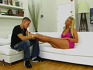 Gorgeous Blonde Gives One Hell Of A Footjob