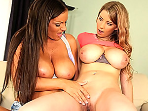 Busty lesbians make out and play
