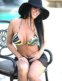 Bikini on pornstar outdoors