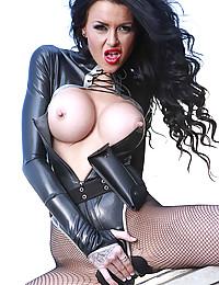 Kinky leather slut fucked outdoors
