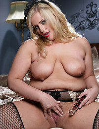 Fat French maid with dildo