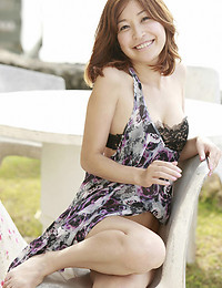 Hot Asian outdoors in dress