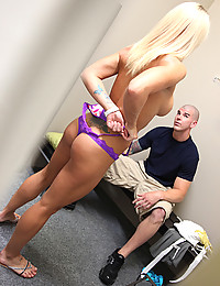 Curvaceous Blond Holly Drinks Jizz
