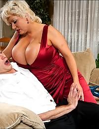 Huge tits on blonde milf slut