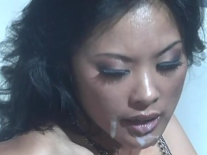 Thick Facial Cumshot for Kaylani Lei after a Hardcore Pounding
