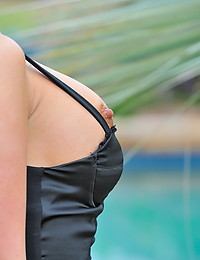 Little black dress is short and barely covers her ample ass during shots