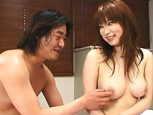 Runna Sakai beautiful breasts massaged while pussy fingered