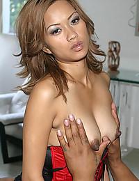 Lingerie Asian wants black anal