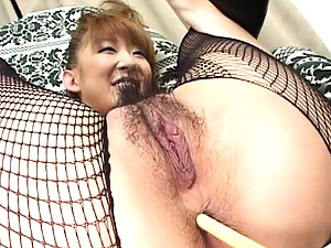Aya Sakaki's asshole is penetrated with a long tickling toy