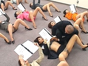 Japanese AV Model classroom of women showing their pantyhose