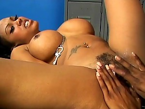 Ebony Lesbians Fuck Each Other in the Locker Room