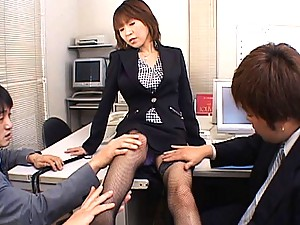 Jun Kusanagi office girl horny and ready to fuck these men