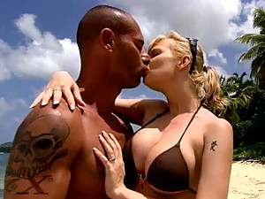 Interracial Sex at the Beach with Busty Blonde Tarra White