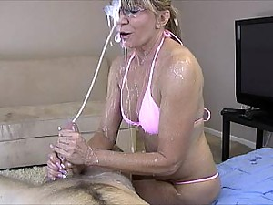 granny makes cock burst into facial cumshot