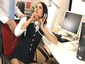 Mai Mizusawa is a horny secretary in her uniform and nylons