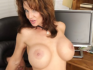 Busty Mature Brunette Pleasures Younger Man