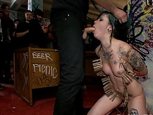 Krysta Kaos gets used and abused at a house party. She entertains the crowd with intense BDSM and sucking and fucking a stranger from the party!