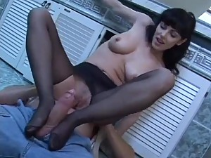 Pantyhose fetish hardcore sex with babe