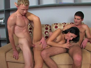 Teen Sex Fusion - Today's special is this horny black haired beauty. These studs both order it and are very satisfied with their meal when they're all done.