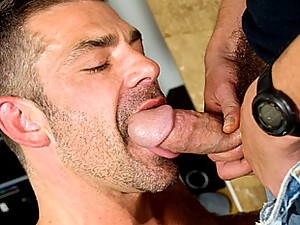 Insatiable bottom daddy, Bruno Bond gets a massive serving of Charlie X's fat cock in this video. His furry body rides that tool in a spectacular display of fucking on the floor, with Bruno's expression telling you just how much he's enjoying sitting on t