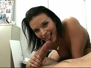 Brunette MILF Sucks a Cock and Quenches Her Cum Thirst
