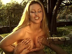 Blonde Italian MILF Nina Ferrari Tit Fucks a Big Cock Outdoors