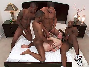 Skinny Brunette Gets Gangbanged By A Pack Of Pussy Hungry Brothas
