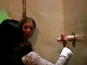 In Lesbian Party These Teens Suck a Gloryhole Cock