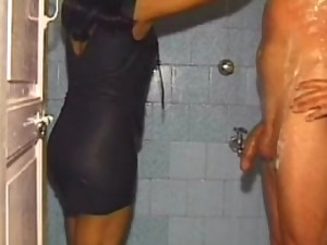 Couple heving a great fun in shower