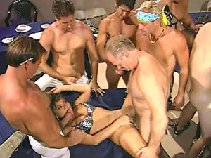 MILFs in Gangbang and Covered in Sperm