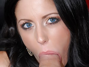 Chick with blue eyes eating dick