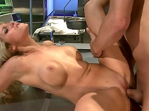 Slutty Blonde Doctor Natalie Vegas Sucks and Fucks Her Patients' Cocks
