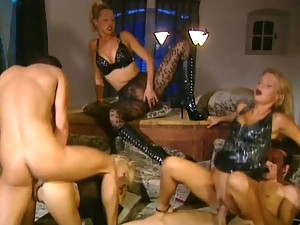 Caroline Cage Katalin and Niki Blond Orgy with Two Guys and Facial