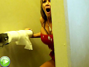 Hot Busty Slut Bathroom Violation
