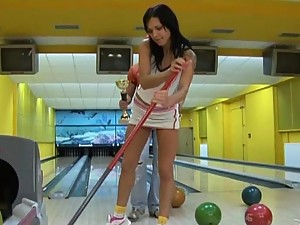 Hot Brunette gets Porked and a Facial in Bowling Alley