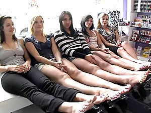 Bunch Of Young Girls Pampering Their Feet & Dancing The Pole