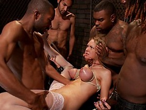 Rain Degrey cums hard as she is tied up and pounded in every hole by her boss and his friends. Hot interracial gangbanging action!!