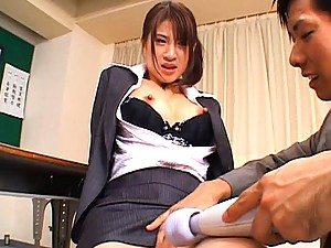 Junna Aoki naughty teacher stimulated with two vibrators